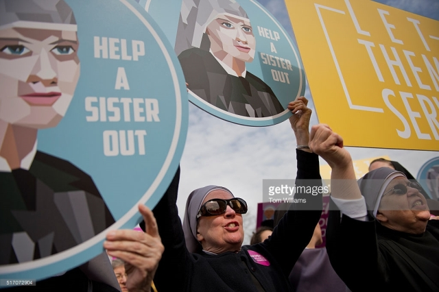 UNITED STATES - MARCH 23: Nuns demonstrate outside of the Supreme Court as arguments were heard in a case which religious organizations are challenging the Affordable Care Act's provision that requires employers to cover birth control in health care plans, March 23, 2016. (Photo By Tom Williams/CQ Roll Call)